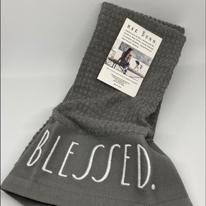 Rae Dunn Kitchen Towels- BLESSED & GRATEFUL gray.